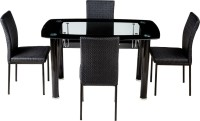 View Woodness Glass 4 Seater Dining Set(Finish Color - Black) Furniture (Woodness)