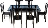 View Woodness Glass 6 Seater Dining Set(Finish Color - Black) Furniture