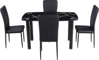 View Woodness Glass 4 Seater Dining Set(Finish Color - Black) Furniture