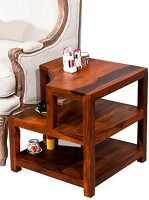 View Ikiriya Solid Wood End Table(Finish Color - TEAK) Furniture (Ikiriya)