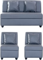 View Bharat Lifestyle Leatherette 2 + 1 + 1 Grey Sofa Set Furniture (Bharat Lifestyle)