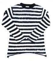 Pepe Jeans Striped Round Neck Casual Girls Black Sweater