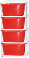 View ShopyBucket High Quality Long lasting Stroage Box Plastic Free Standing Chest of Drawers(Finish Color - Red, Door Type- Framed Sliding) Furniture (ShopyBucket)