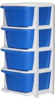 View ShopyBucket High Quality Long lasting Stroage Box Plastic Free Standing Chest of Drawers(Finish Color - Blue, Door Type- Framed Sliding) Furniture (ShopyBucket)