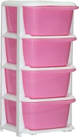 View ShopyBucket High Quality Long lasting Stroage Box Plastic Free Standing Chest of Drawers(Finish Color - Pink, Door Type- Framed Sliding) Furniture (ShopyBucket)