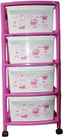 View ShopyBucket High Quality Long lasting Stroage Box Plastic Free Standing Chest of Drawers(Finish Color - Pink::White, Door Type- Framed Sliding) Furniture (ShopyBucket)