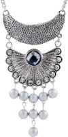 The Jewel Box Oxidised Tribal Cubic Zirconia Black Silver Plated Brass Necklace