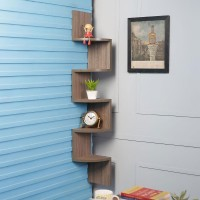 View DriftingWood Corner Wooden Wall Shelf(Number of Shelves - 5, Grey) Furniture (DriftingWood)