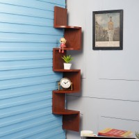 View DriftingWood Corner Wooden Wall Shelf(Number of Shelves - 5, Brown) Furniture (DriftingWood)