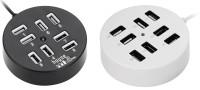 View ReTrack Combo Set oF 2PC Circular 8 Port USB 2.0 Portable Round USB Hub(Black, White) Laptop Accessories Price Online(ReTrack)