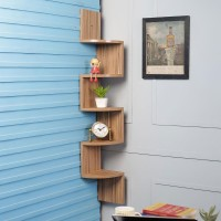 View DriftingWood Corner Wooden Wall Shelf(Number of Shelves - 5, Beige) Furniture (DriftingWood)