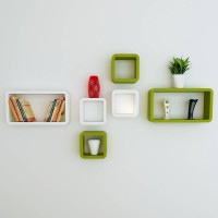 View CraftOnline hexagonal Wooden Wall Shelf(Number of Shelves - 6, Green, White) Furniture (CraftOnline)
