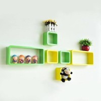 View CraftOnline Craft.14 Wooden Wall Shelf(Number of Shelves - 6, Green, Yellow) Furniture (CraftOnline)