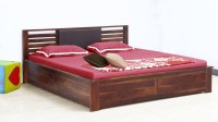 View VINTEJ HOME Solid wood Contemporary King Size Box Storage bed In Provincial Teak Finish By Vintage Home Solid Wood King Bed(Finish Color -  Provincial Teak) Furniture (VINTEJ HOME)