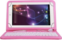 Jkobi Keyboard Case for Lava QPAD R704(Pink, Dual Protection, Leather)