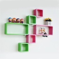 View CraftOnline wall shelf Wooden Wall Shelf(Number of Shelves - 6, Green, Pink) Furniture (CraftOnline)
