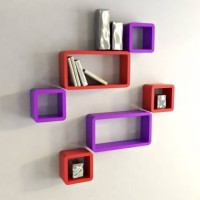 View CraftOnline Wooden Wall Shelf(Number of Shelves - 6, Purple, Red) Furniture (CraftOnline)