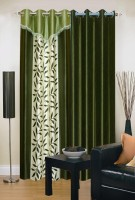 Ville Style 275 cm (9 ft) Polyester Long Door Curtain (Pack Of 2)(Floral, Green)