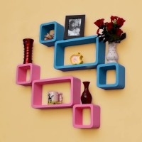 View CraftOnline Wooden Wall Shelf(Number of Shelves - 6, Pink, Blue) Furniture (CraftOnline)