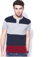 Urbano Fashion Striped Men Henley Dark Blue, Grey, Maroon T-Shirt