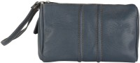 JL Collections Leather Navy Blue Vanity Pouch Pouch(Blue)