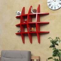 View Masterwood tyer rank MDF Wall Shelf(Number of Shelves - 12, Red) Furniture (Masterwood)
