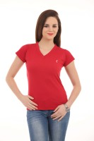 LovinoForm Solid Women's V-neck Red T-Shirt