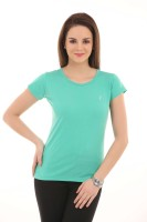 LovinoForm Solid Women's Round Neck Green T-Shirt