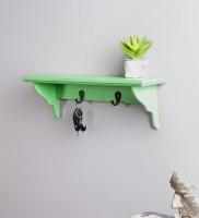 View La Stella Green Floating Shelf with hooks Wooden, MDF Wall Shelf(Number of Shelves - 1, Green) Furniture (La Stella)