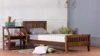 View VINTEJ HOME Solid Wood Single Bed(Finish Color -  WALNUT) Furniture (VINTEJ HOME)