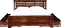 View VINTEJ HOME Solid Wood King Bed With Storage(Finish Color -  WALNUT) Furniture (VINTEJ HOME)