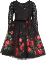 Cutecumber Girls Midi/Knee Length Party Dress(Black, Full Sleeve)