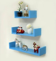 View all crafts art U shape rank MDF Wall Shelf(Number of Shelves - 3, Blue) Furniture (ALL CRAFTS ART)