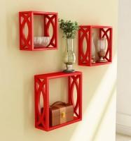 View Huzain Handicrafts square Wooden, MDF Wall Shelf(Number of Shelves - 3, Red) Furniture (huzain handicrafts)