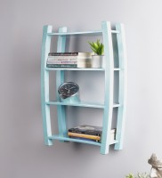 View La Stella Sky Blue Wooden, MDF Wall Shelf(Number of Shelves - 4, Blue) Furniture (La Stella)