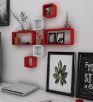 View all crafts art Cub storage MDF Wall Shelf(Number of Shelves - 6, Red, White) Furniture (ALL CRAFTS ART)