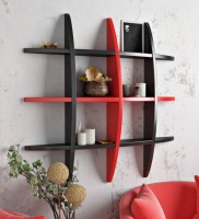 View ALL CRAFTS ART TYRE RANK MDF Wall Shelf(Number of Shelves - 12, Black, Red) Furniture (ALL CRAFTS ART)