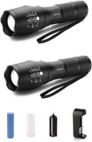 View DOCOSS Set Of 2-Rechargeable 3 Modes Portable Bright Waterproof Zoomable Focus Flashlight Torch With Charger-B2 Emergency Lights(Black) Home Appliances Price Online(DOCOSS)