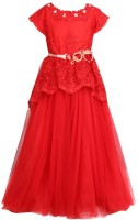 Cutecumber Girls Maxi/Full Length Party Dress(Red, Cap Sleeve)
