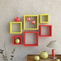 View SG Nice MDF Wall Shelf(Number of Shelves - 6, Red) Furniture (SG)