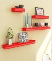 View SG Nice MDF Wall Shelf(Number of Shelves - 4, Red) Furniture (SG)