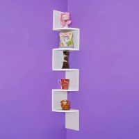 View MartCrown Zig Zag Wooden Wall Shelf(Number of Shelves - 5, White) Furniture (Martcrown)