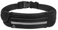 Sukot Reflective Waterproof Running Jogging Waist Belt Band Keys Mobile Cards Pouch Holder Mobile Waist Belt Pouch(Black)