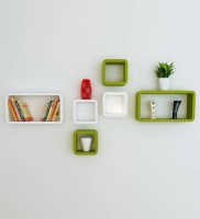 View CraftOnline craft41 Wooden Wall Shelf(Number of Shelves - 6, White, Green) Furniture (CraftOnline)