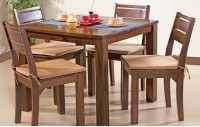 HomeTown Trelis Solid Wood 4 Seater Dining Set(Finish Color - Honey)
