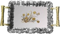 ShopyBucket Silver Colour Engraved Flower designs (Pack of 3) Tray Set