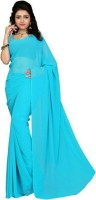 Stylish Sarees Plain Daily Wear Synthetic Georgette Saree(Light Blue)