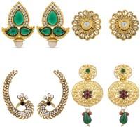 Luxor Classical Diamond Alloy Earring Set, Stud Earring, Cuff Earring, Chandelier Earring