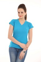 LovinoForm Solid Women's V-neck Light Blue T-Shirt