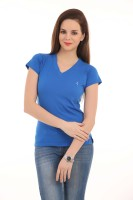LovinoForm Solid Women's V-neck Blue T-Shirt